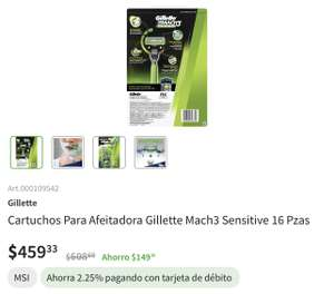 SAMS: Cartuchos a 28.5 Gillette mach3 sensitive
