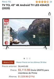 """Amazon: TV TCL 43"""" 4K Android TV"""