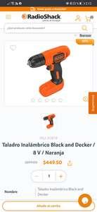 RadioShack: Taladro inalámbrico Black & Decker 8v