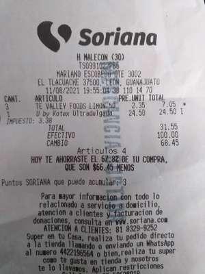 Soriana: Te Valley foods limon