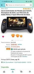 Amazon: Control Zacro para Nintendo Switch ( Alternativa a Joycon, envío gratis Prime, tiene un cupón de vendedor)