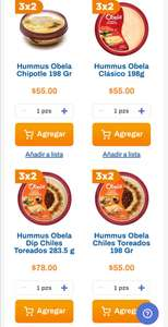 Chedraui: 3 x 2 en Hummus marca Obela seleccionados