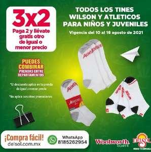 Del Sol y Woolworth: 3 x 2 en todos los tines Wilson y atléticos para niños y juveniles... 3 x 2 en calcetas para niñas y juveniles