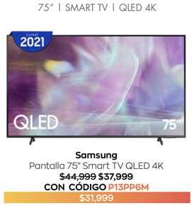 "Costco: Samsung Pantalla 2021 75"" QLED 4K SMART TV + hasta 18 MSI"