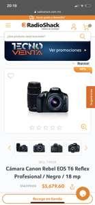 RadioShack: Canon T6 lente normal + lente súper zoom