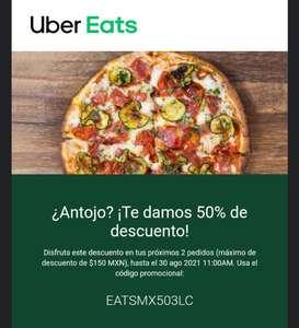 Uber Eats: Cupón 50% de descuento en tus próximos 2 pedidos (usuarios seleccionados)