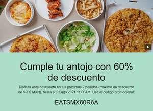 Uber Eats: Cupón 60% de descuento, usuarios seleccionados