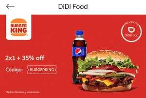 Didi Food: Burger king al 2*1 + 35 % de descuento con cupón