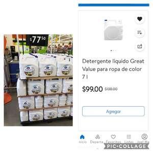 Walmart express :detergente líquido 7 lts great value en 77.50