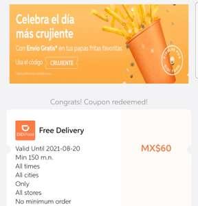 Didi: Envío gratis hasta 60 pesos cualquier restaurante y cualquier ciudad