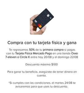 Mercado Pago: Compra con tarjeta física de MP en OXXO, 7-eleven y Circle K y te regresan el 50% de tu compra