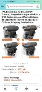 Amazon: TXG Luces Bicicleta Delantera y Trasera,Juego de Luces para Bicicleta IPX5 Resistente con 4 Modes,Linterna de Seguridad