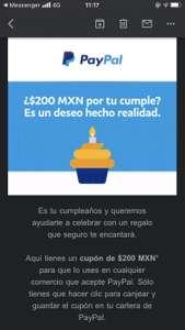 PayPal: Cupón de Cumpleaños (usuarios seleccionados)