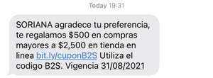 Soriana en línea $500 de descuento en compras mayores a $2500