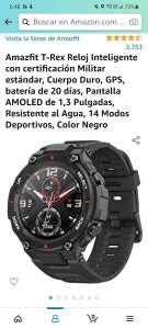 Amazon: Amazfit T-Rex Reloj Inteligente con certificación Militar estándar, Cuerpo Duro, GPS, batería de 20 días