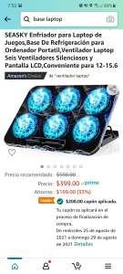 Amazon: Base enfriadora para laptop