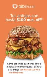 DiDi Food: Cupón $100 y $50 gratis para tu pedido: Usuarios seleccionados