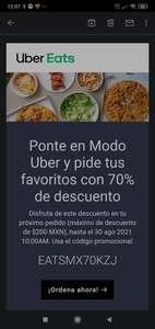 UberEATS descuento de 70% en un pedido (usuarios seleccionados)