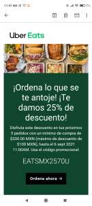 UBER EATS: CUPÓN 25% (diferente cupón) (usuarios seleccionados)