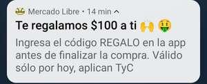 Mercado Libre: $100 de descuento (usuarios seleccionados)