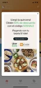 Uber Eats 50% descuento con código Sivale