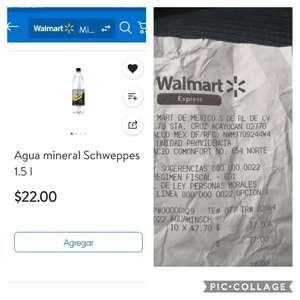 Walmart express: agua mineral schweppes 1.5 lts. $7.70