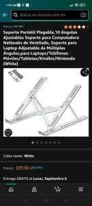 Amazon: Soporte portátil para laptop, tabletas y celulares.