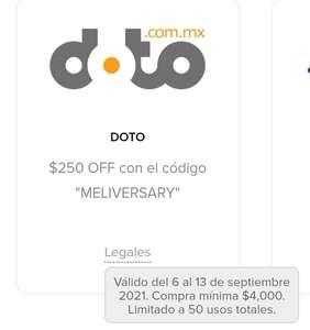 Doto: Cupón Mercado Pago $250 OFF (Mín. $4000)
