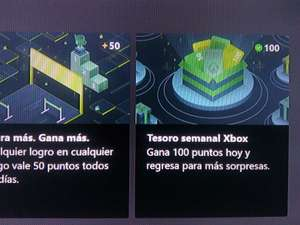 Xbox: Tesoro Semanal 100 puntos App Rewards Consola