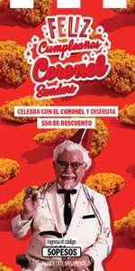 KFC: $50 DE DESCUENTO, compra mínimo $200