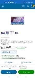 "Sam's Club: Pantalla Samsung Qled 50"""