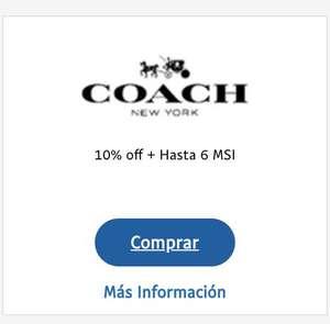 10% de descuento en toda la tienda Coach utilizando el código.