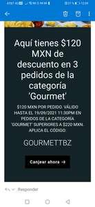 Uber Eats 120 pesos de descuento en categoría gourmet