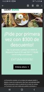 Uber eats cupón 300 pesos de descuento primeros 2 pedidos