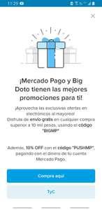 Mercado Pago: 10% Descuento en Big Doto y Envío Gratis en compras mayores a $10 mil