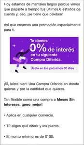 NU Bank: Promoción difiere tu siguiente compra con 0% de interés (usuarios seleccionados   monto mín. $100)