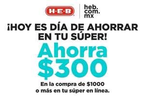 HEB Aguascalientes y Querétaro: Descuento de $300 MXN en compras superiores a $1,000 MXN (Todos los usuarios).