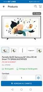 Coppel : Pantalla Q LED samsung 55 pulgadas Ultra HD 4K Smart TV.