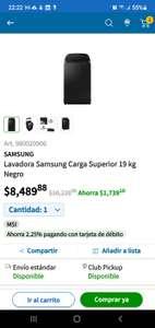 Sam's Club: Lavadora Samsung de 19 kg.