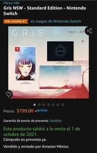 Amazon: Gris - Standard Edition - Nintendo Switch (preventa)