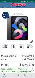 """Costco: Apple iPad Air 10.9"""" Wi-Fi 64GB Gris Espacial, sin promociones"""