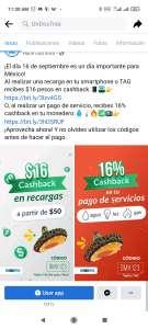 UNDOSTRES Cashback del 16% en servicios y $16 en recargas