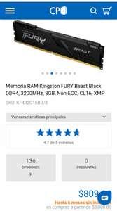CyberPuerta Memoria RAM de 8gb Kingston FURY 3200MHz