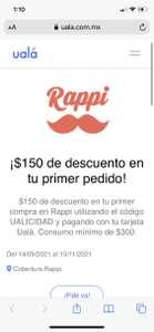 $150 de descuento en Rappi con UALÁ