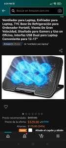 Amazon: Ventilador/ enfriador para laptop de 12 a 17 pulgadas