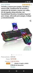 Amazon: Combo teclado + mouse tipo gamer con soporte para el teléfono. Marca COOSEON