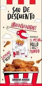 (KFC) Cupón de $40 al registrarse en la página oficial de KFC