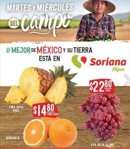 Soriana Híper y Súper: Martes y Miércoles del Campo 21 y 22 Septiembre: Piña $14.80 kg... Naranja $14.80 kg... Uva Globo $22.80 kg.