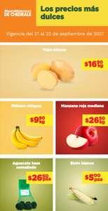 Chedraui: MartiMiércoles 21 y 22 Septiembre: Plátano $9.90 kg... Papa $16.90 kg... Manzana Roja $26.50 kg... Aguacate Malla $26.50 pza.