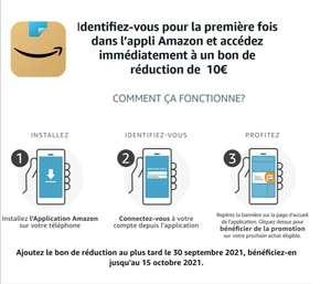 Amazon Francia: Cupón 10 euros primera compra en app (usuarios nuevos)